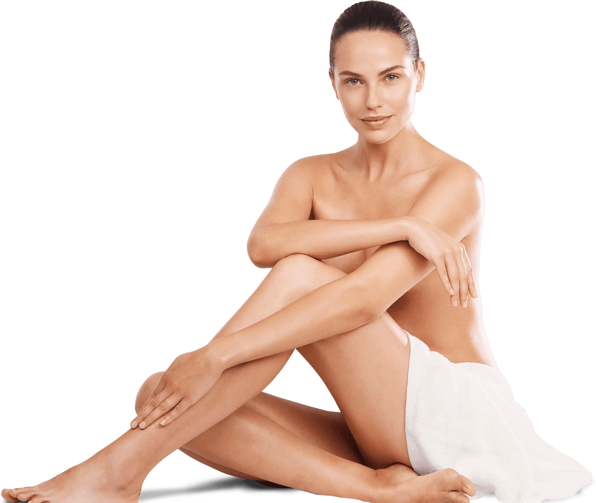 model naked skin with towel